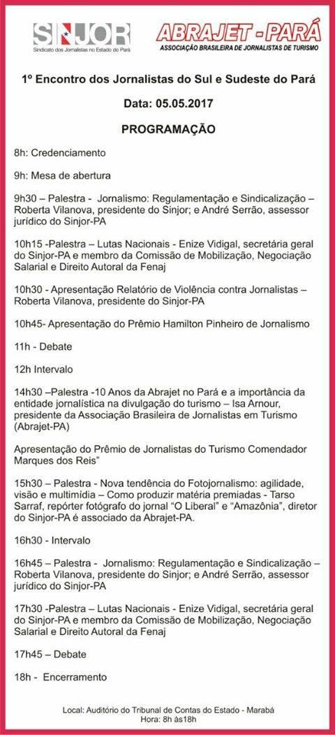 Marabá vai sediar encontro de jornalistas do sul e sudeste do Pará