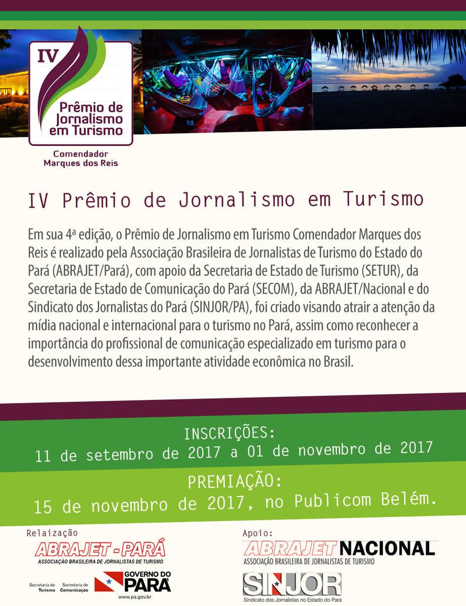 Prêmio de Jornalismo em Turismo inscreve até 1º  de novembro